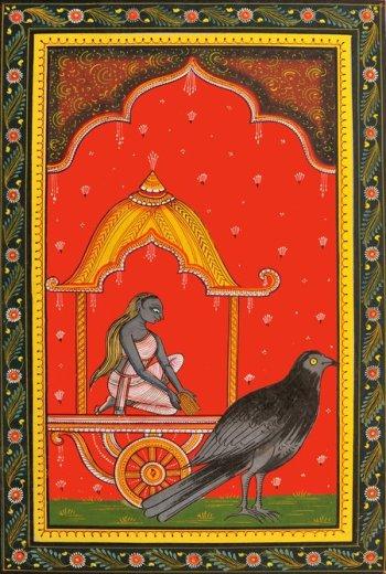 Dhumavati és varjúja _ Artist_ Rabi Behra _ exoticindia_com